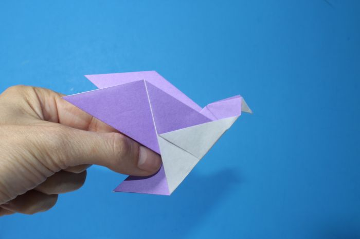 Easy How to make an Origami Dove - YouTube | 466x700
